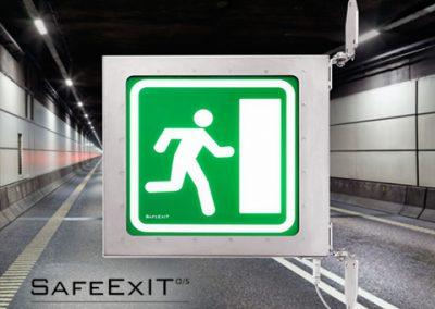 Safeexit vandtæt, kollisions, korrosions og brandsikker skiltning til tuneller