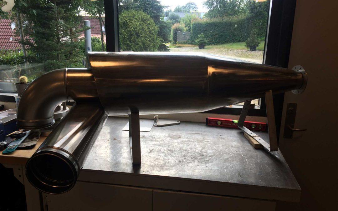 Prototype af ny cyklon med støjfilter til værkstedet.